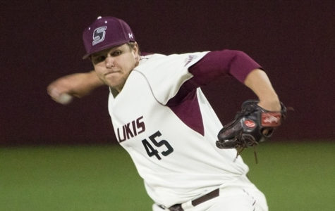 Then-junior right-handed pitcher Austin McPheron throws a pitch during SIU's 7-4 loss to Memphis on March 24 at Itchy Jones Stadium. McPheron pitched 3.2 innings and had 5 strikeouts.