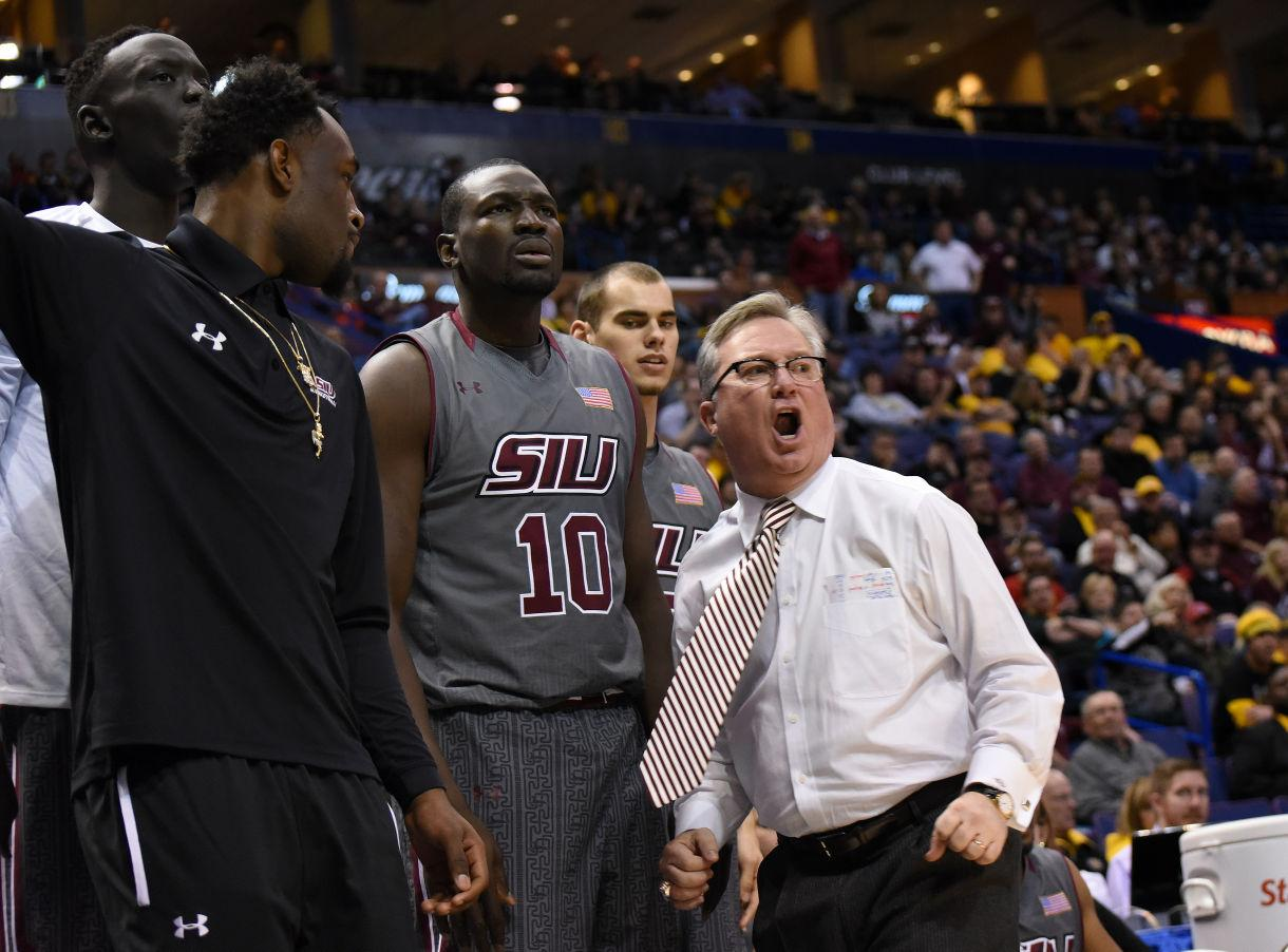 SIU coach Barry Hinson reacts to a call during the Salukis' 66-60 loss to Northern Iowa on March 4 during the Missouri Valley Conference Tournament in St. Louis. (DailyEgyptian.com file photo)