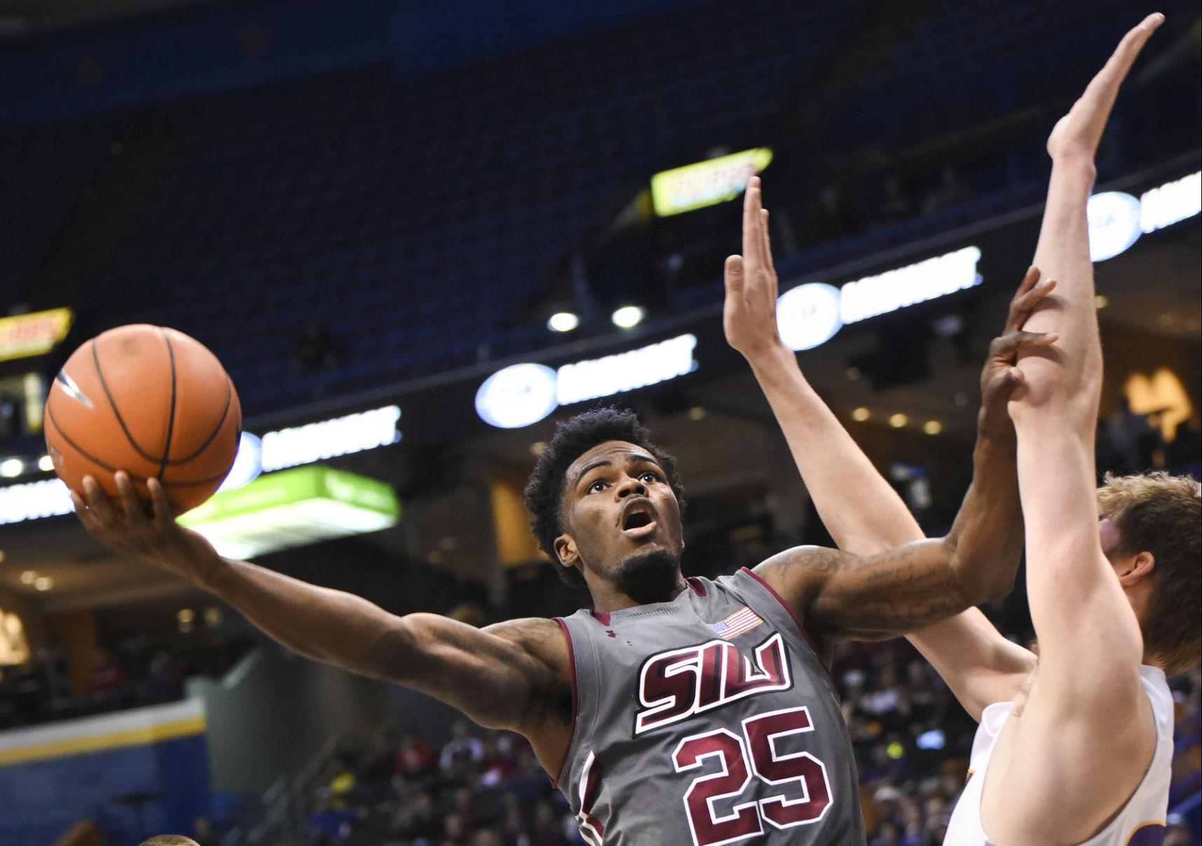 Anthony Beane attempts a shot during the Salukis' 66-60 loss to Northern Iowa on Friday during the Missouri Valley Conference Tournament in St. Louis. (DailyEgyptian.com file photo)