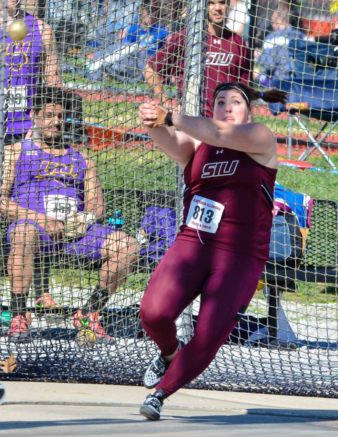 Then-senior thrower DeAnna Price throws the hammer throw on March 26 at the Bill Cornell Spring Classic. (DailyEgyptian.com file photo)