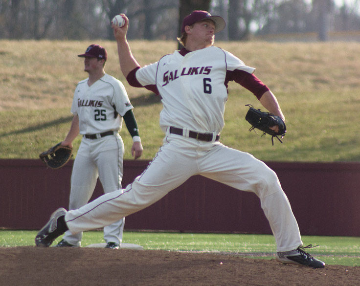 Ryan Netemeyer warms up during SIU's 4-1 win against Western Illinois on May 7, 2016, at Itchy Jones Stadium.