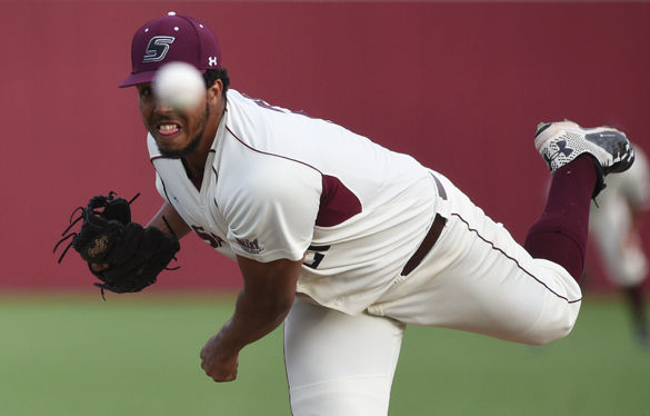 Junior pitcher Joey Marciano throws a pitch during SIU's 6-3 win against St. John's on March 11, 2016 at Itchy Jones Stadium. Marciano pitched five innings and had three strikeouts during the game. (Jacob Wiegand | @jawiegandphoto)