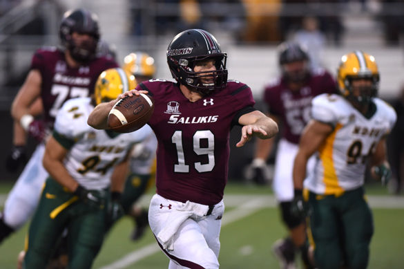 Quarterback Mark Iannotti attempts a pass during SIU's 35-29 loss to North Dakota State University on Oct. 31, 2015, at Saluki Stadium. (DailyEgyptian.com file photo)