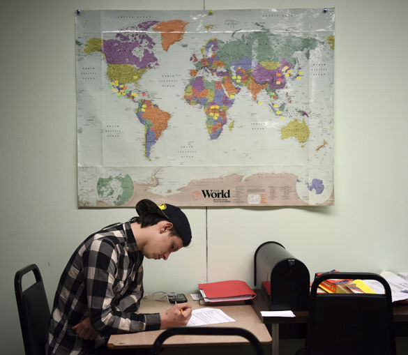 "AJ Travis, 16, of De Soto, takes the U.S. and Illinois Constitution tests Wednesday in preparation for his graduation from Carbondale Community High School's Rebound program. ""I wasn't doing well in high school,"" Travis said. ""I was scared to go to classes because of the pressure of too many people and the pressure of doing well. … When I came here they told me the only thing holding you back is yourself. You are the leader of your own path. … This program is really important to a lot of people, especially myself because without it, I would be stuck at home with no direction. Because of this program I'm finally getting the education that I want and I'm finally going to go somewhere in life."" Travis is beginning his first semester at John A. Logan College this fall. The Rebound program, which assists people 16 years of age and older in their attainment of a secondary-education credential, faces possible closure fall semester if it does not receive state or federal funding. — April 27, 2016, Carbondale, Ill."