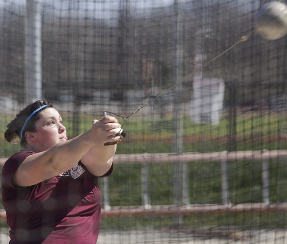 Senior thrower DeAnna Price practices the hammer throw March 21, 2016 at the Lew Herzog Track and Field Complex. (DailyEgyptian.com file photo)