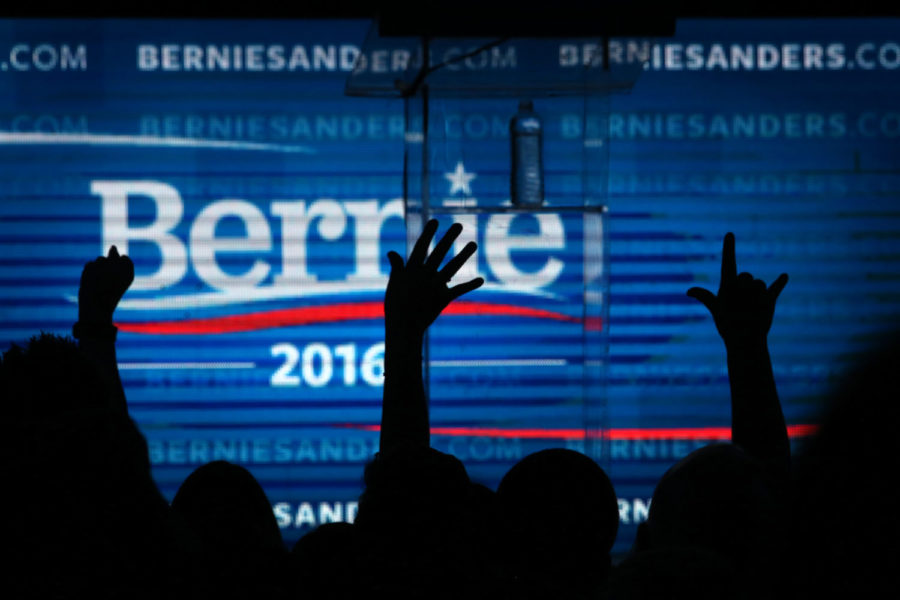 The crowd cheers as then-Democratic presidential candidate Bernie Sanders at the Avalon in Los Angeles for a fundraiser following the campaign's first debate the prior night in Las Vegas. (Rick Loomis/Los Angeles Times/TNS)
