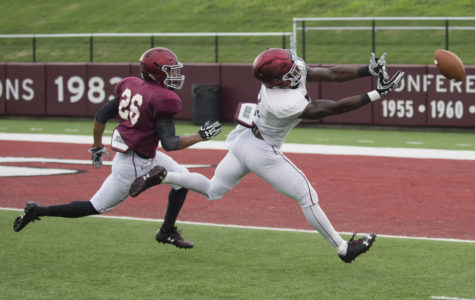 Wide receiver Darrell James, right, reaches for a pass as cornerback C.J. Jennings attempts to make a block during SIU's fall football scrimmage Saturday at Saluki Stadium in Carbondale. (Ryan Michalesko | @photosbylesko)