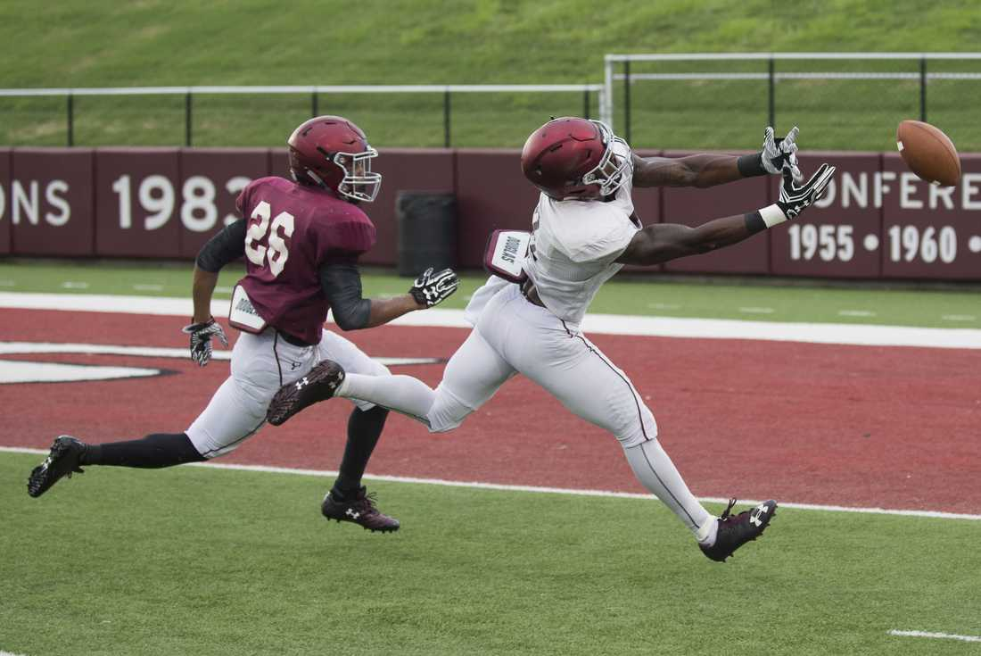 Wide receiver Darrell James, right, reaches for a pass as cornerback C.J. Jennings attempts to make a block during SIU's fall football scrimmage Saturday at Saluki Stadium in Carbondale. (Ryan Michalesko   @photosbylesko)