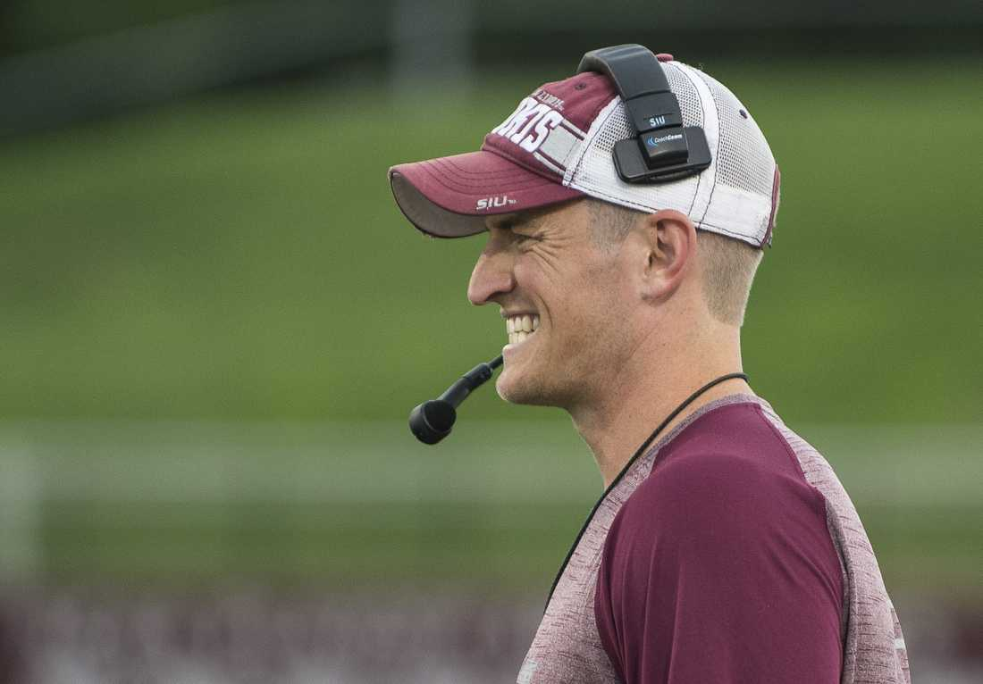 Saluki head coach Nick Hill reacts to a play during SIU's fall football scrimmage on Saturday, Aug. 20, 2016, at Saluki Stadium in Carbondale. (Ryan Michalesko | @photosbylesko)