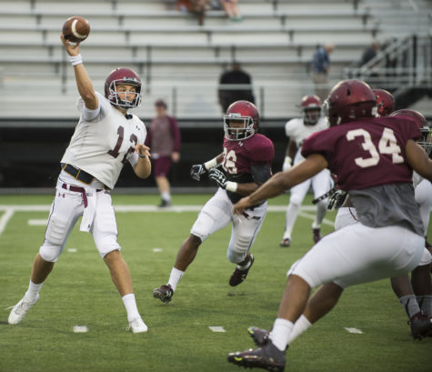 Senior quarterback Josh Straughan launches a pass during SIU's fall football scrimmage Saturday, Aug. 20, 2016, at Saluki Stadium in Carbondale. (Ryan Michalesko | @photosbylesko)