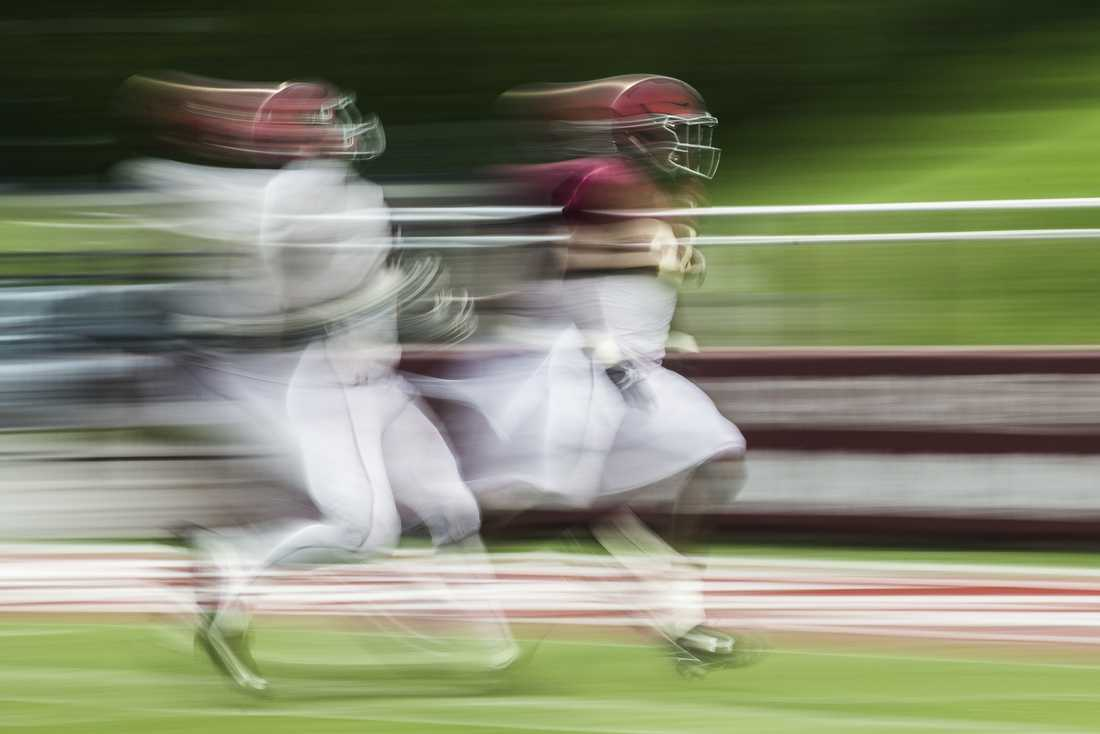 Players race for the ball during SIU's fall football scrimmage Aug. 20, 2016, at Saluki Stadium in Carbondale. (Ryan Michalesko | @photosbylesko)