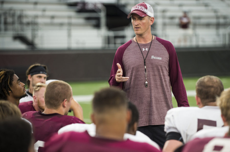 Head+football+coach+Nick+Hill+speaks+with+the+team+following+SIU%27s+fall+football+scrimmage+Saturday%2C+Aug.+20%2C+2016%2C+at+Saluki+Stadium+in+Carbondale.+%28Ryan+Michalesko+%7C+%40photosbylesko%29