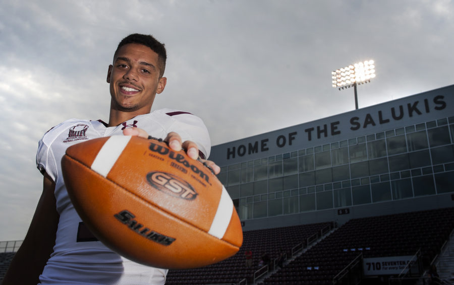Saluki wide receiver Israel Lamprakes poses for a portrait during Fan Fest on Tuesday, Aug. 23, 2016, at Saluki Stadium. (Ryan Michalesko | @photosbylesko)