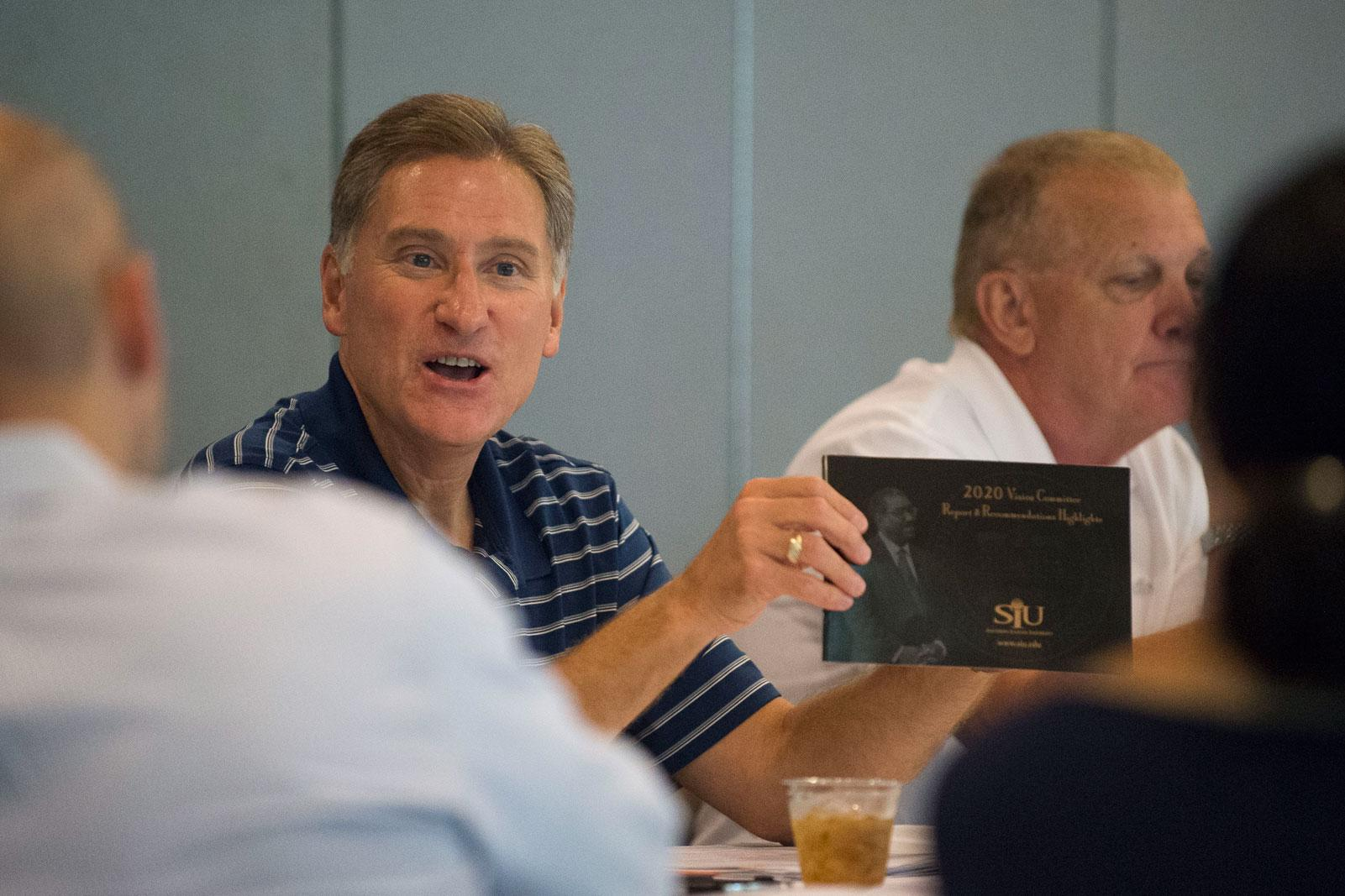 SIU President Randy Dunn presents past long-term plans during a special SIU Board of Trustees meeting on Thursday, Aug. 25, 2016, at Touch of Nature Environmental Center in Makanda. (Ryan Michalesko | @photosbylesko)