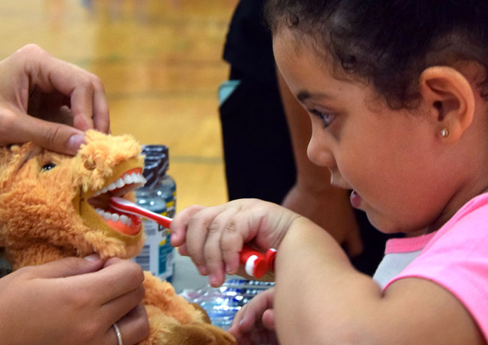 """Four-year-old Hana Saudi brushes the teeth of a stuffed dinosaur at a table set up by SIU's dental hygiene program Saturday during """"Finding Grey Dawg"""" at the Recreation Center. """"A lot of children don't go to the dentist until they're six, seven or eight, so it's important to instill dental hygiene at an early age,"""" said Sammy Merrigan, a senior from Wauconda studying dental hygiene who passed out toothbrushes and mouthwash to families at the center."""