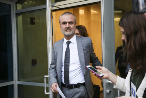 Gawker founder Nick Denton walks out of the courthouse March 18 in St. Petersburg Florida. (Eve Edelheit/Zuma Press)