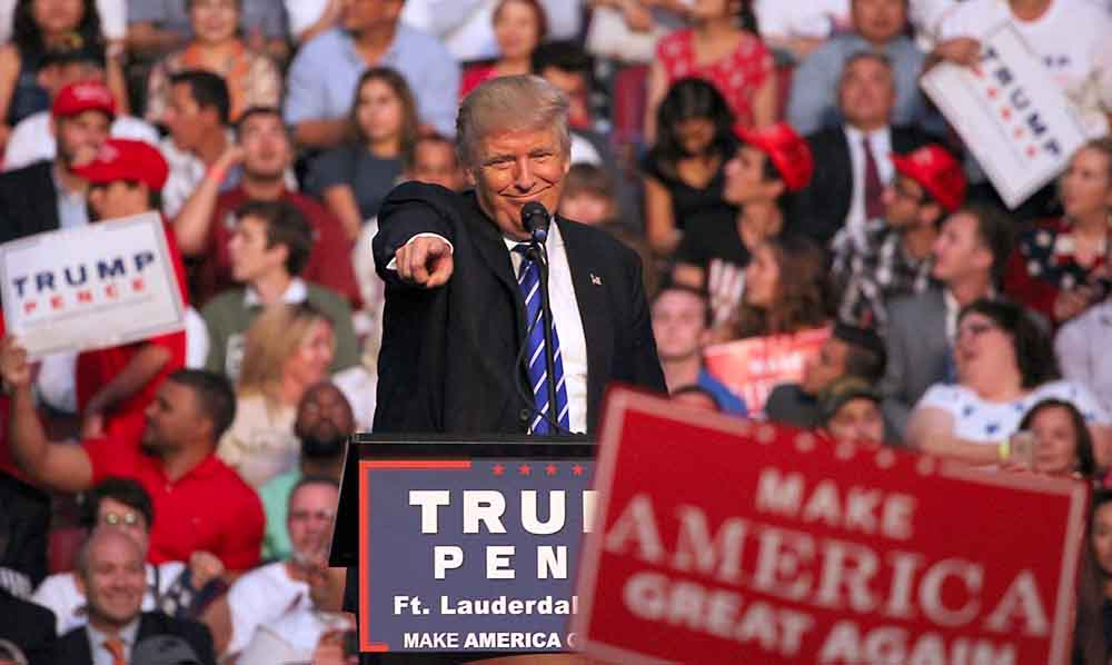 Republican presidential candidate Donald Trump holds a campaign rally Aug. 10, 2016 in Sunrise, Fla. (Patrick Farrell/Miami Herald/TNS)
