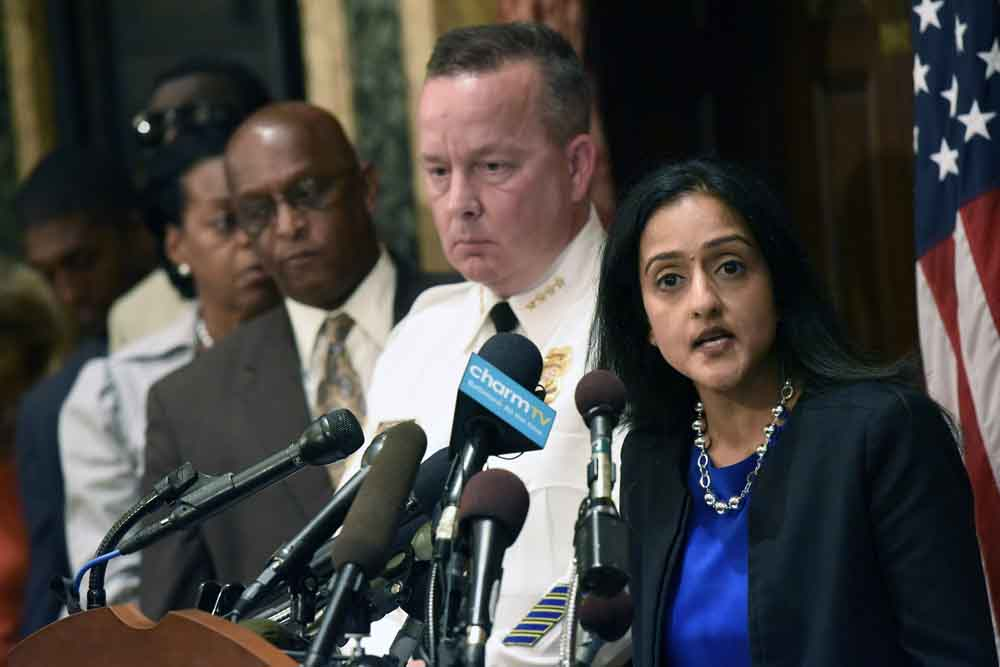 Right, Principal Deputy Assistant Attorney General Vanita Gupta  Wednesday, Aug. 10, 2016 (Kim Hairston/Baltimore Sun/TNS)