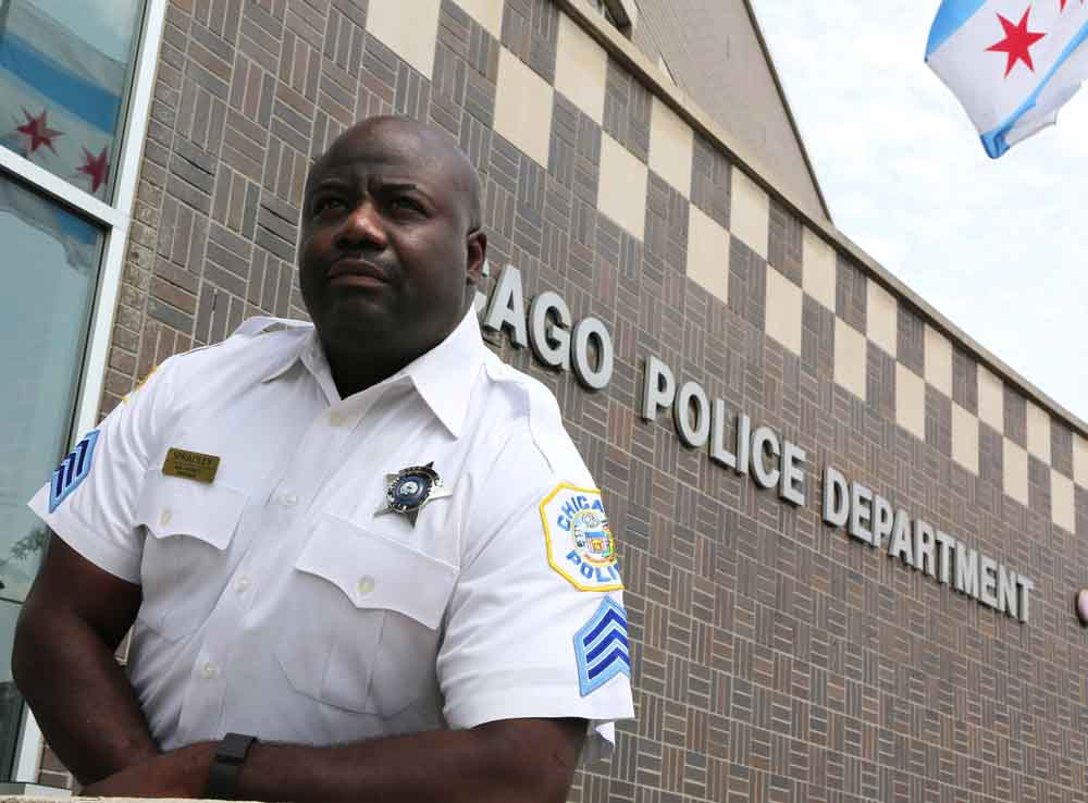 Chicago police Sgt. Ernest Spradley said he was pulled over by a white officer who cussed at him before knowing he was a police officer. The incident reminds him that officers need to work at respecting the people they serve, he said. (Antonio Perez/Chicago Tribune/TNS)