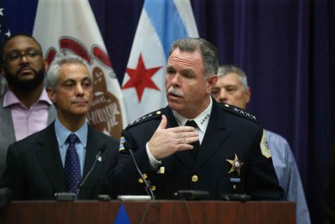 Mayor Rahm Emanuel and then-Chicago Police Supt. Garry McCarthy hold a news conference at Chicago Police Headquarters in Chicago on Tuesday, Nov. 24, 2015. Emanuel later that he has dismissed McCarthy, citing a lack of public trust in police leadership in the wake of the Laquan McDonald shooting. (Nuccio DiNuzzo/Chicago Tribune/TNS)