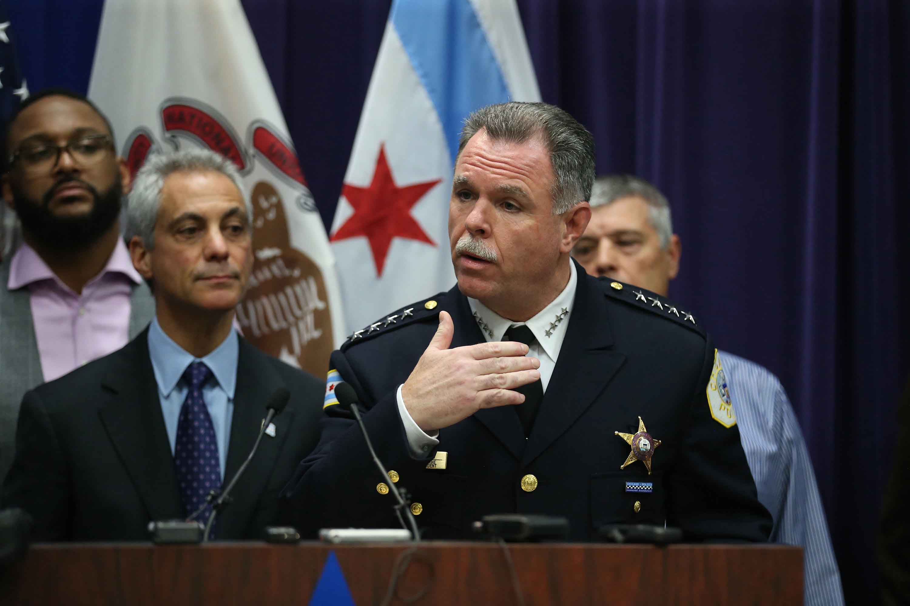 Mayor Rahm Emanuel and then-Chicago Police Supt. Garry McCarthy hold a news conference at Chicago Police Headquarters in Chicago on Tuesday, Nov. 24, 2015. Emanuel later dismissed McCarthy, citing a lack of public trust in police leadership in the wake of the Laquan McDonald shooting. (Nuccio DiNuzzo/Chicago Tribune/TNS)