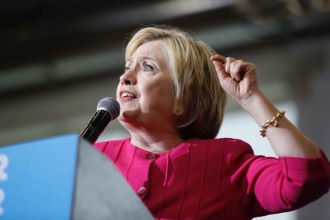 Democratic presidential candidate Hillary Clinton addresses a crowd on Tuesday, Aug. 16 2016 at West Philadelphia High School in Pennsylvania. (Michael Bryant/Philadelphia Inquirer/TNS)