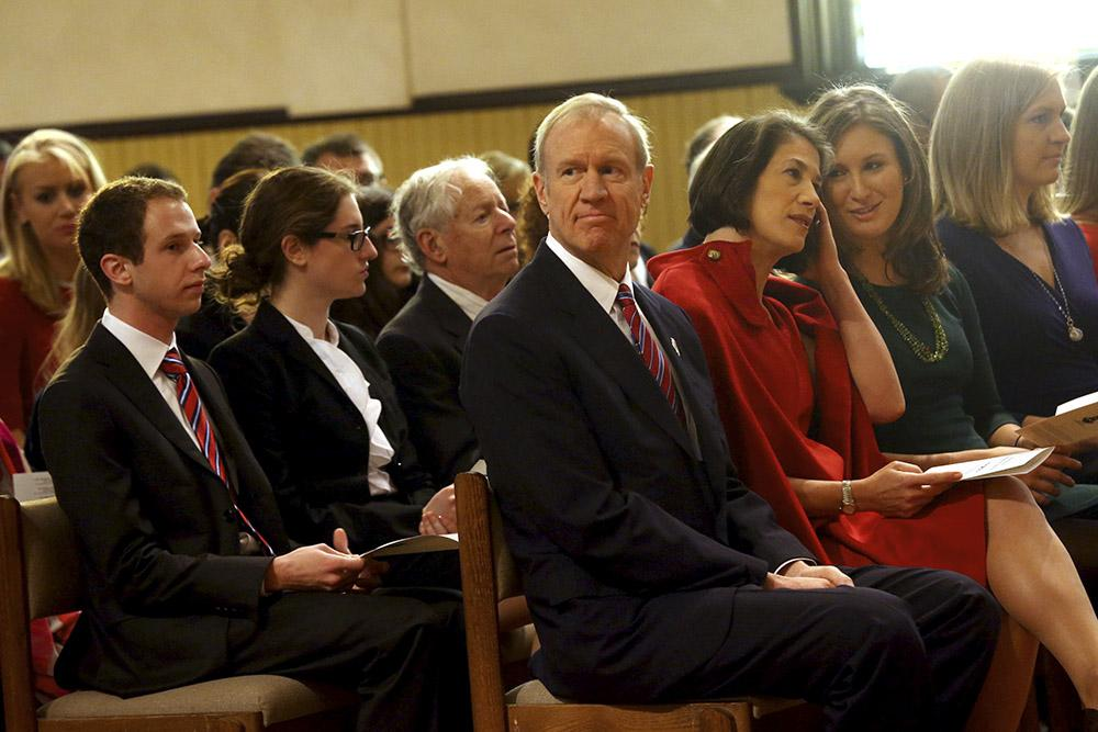 Then-Gov.-elect Bruce Rauner and his wife Diana attend an interfaith prayer service at First Presbyterian Church on Jan. 12, 2015 in Springfield. (Nancy Stone/Chicago Tribune/TNS)