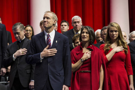 Bruce Rauner is sworn into office at the Prairie Capital Convention Center on Jan. 12, 2015 in Springfield. (Zbigniew Bzdak/Chicago Tribune/TNS)