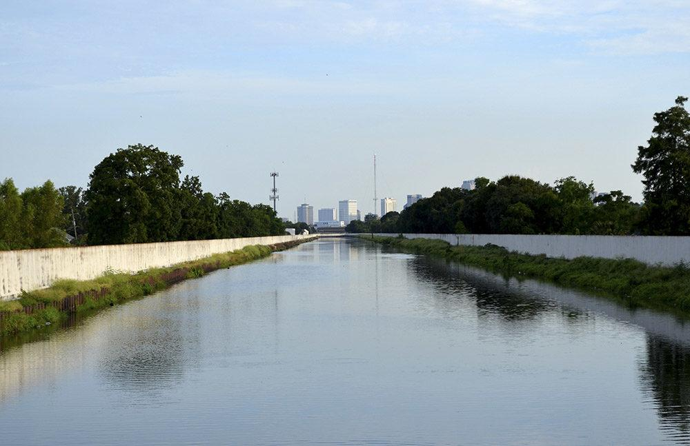 The skyline of New Orleans is seen in the distance down the London Avenue Canal. (Chris Adams/McClatchy DC/TNS)