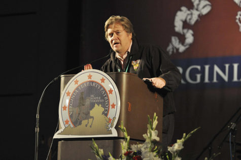 Award-winning filmmaker Stephen Bannon introduces his Tea Party movie trilogy at the Virginia Tea Party Convention held at the Richmond Convention Center on Oct. 8, 2010 in Richmond, Va. (Tina Fultz/Zuma Press/TNS)