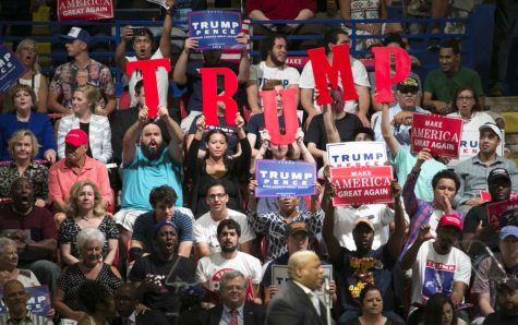 Donald Trump supporters get fired up at a Trump rally at the Travis County Exposition Center on Tuesday, Aug. 23, 2016 in Austin, Texas. (Jay Janner/Austin American-Statesman/TNS)