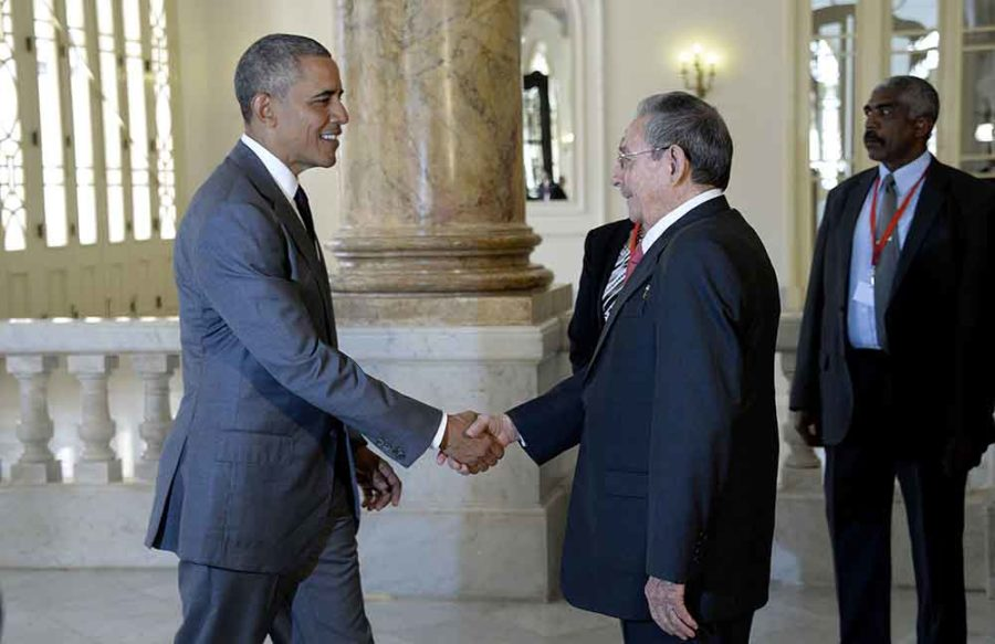 U.S.+President+Barack+Obama+and+Cuban+President+Raul+Castro+shake+hands+before+delivering+remarks+on+March+22%2C+2016%2C+in+Havana%2C+Cuba.+The+Cubans+are+now+stepping+up+their+efforts+to+blunt+the+Cuban+Adjustment+Act.+%28Olivier+Douliery%2FAbaca+Press%2FTNS%29