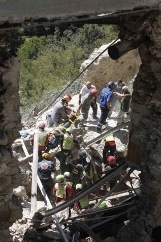 Rescue crews search the rubble following an earthquake in Amatrice, central Italy on Aug. 24, 2016. At least 39 people have died, according to CNN affiliate Rai. (Imago/Zuma Press/TNS)