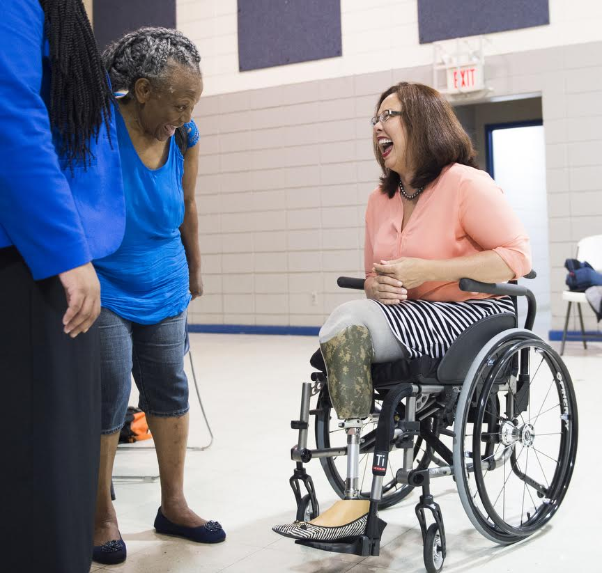 U.S. Rep. Tammy Duckworth, right, talks with Eurma C. Hayes Center board member Janet H. Liley during a visit to the center Friday, Aug. 26, 2016 in Carbondale. (Ryan Michalesko | @photosbylesko)
