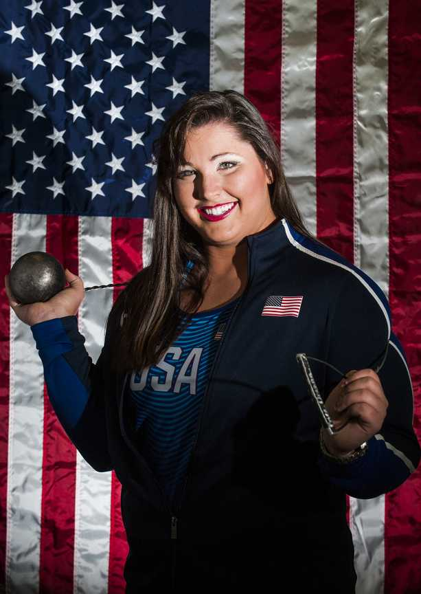 Deanna Price, an SIU graduate from Moscow Mills, Mo., poses for a portrait Thursday, Sept. 1, 2016. Price placed eighth in hammer throw, throwing 70.95 meters, at the 2016 Olympics in Rio de Janeiro. (Ryan Michalesko | @photosbylesko)