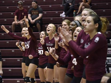 The+SIU+volleyball+team+celebrates+from+the+sideline+after+winning+a+point+against+Western+Michigan+on+Saturday%2C+Sept.+3%2C+2016%2C+at+SIU+Arena.+%28Athena+Chrysanthou+%7C+%40Chrysant1Athena%29