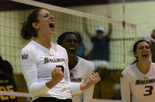 Senior outside hitter Andrea Estrada reacts after the Salukis score a point Tuesday, Sept. 6, 2016, during SIU's 3-0 win against Murray State in Davies Gym.