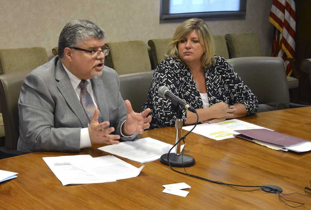 Interim Chancellor Brad Colwell, left, discusses SIUC's enrollment numbers alongside interim Director of Undergraduate Studies Terri Harfst at a press conference Tuesday, Sept. 6, 2016, in Anthony Hall. (Bill Lukitsch | @Lukitsbill)