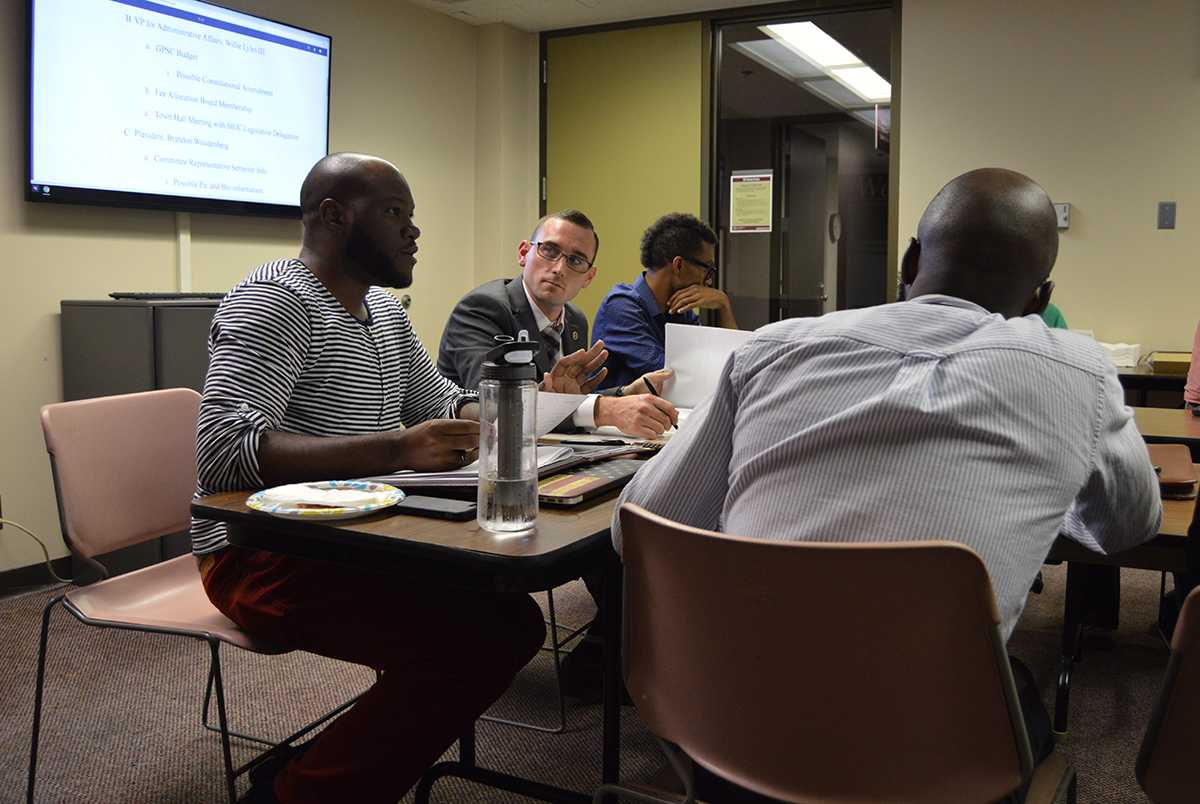 Willie Lyles III, GPSC's vice president for administrative affairs, addresses the council Tuesday, Sept. 6, 2016, during its first meeting of the year at the Student Center. (Marnie Leonard | @marsuzleo)