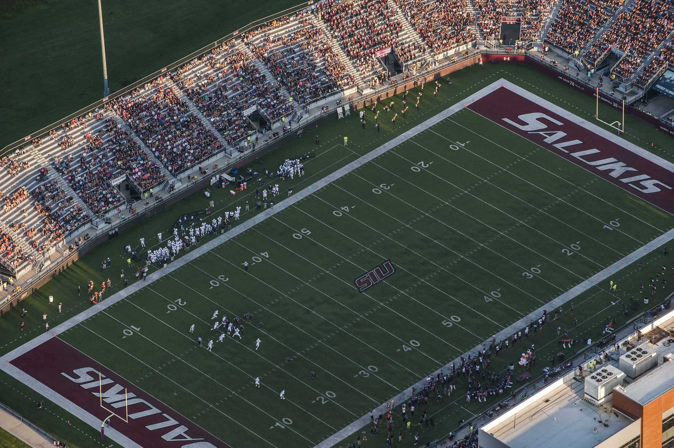 Football fans fill the stands during the Salukis' 50-17 win over the Murray State Racers on Saturday, Sept. 17, 2016, at Saluki Stadium. (Ryan Michalesko | @photosbylesko)