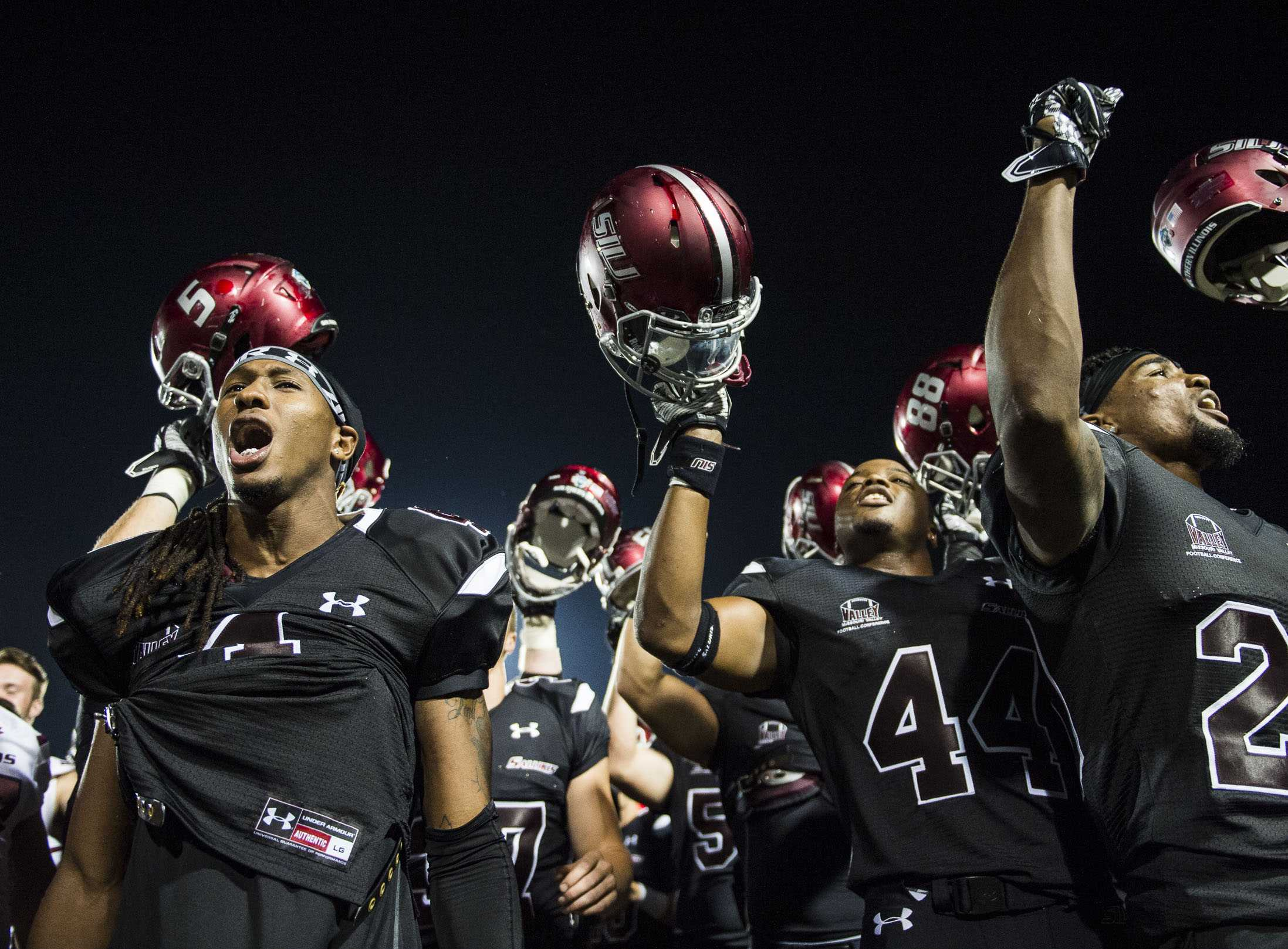 SIU football players celebrate following a 50-17 win over the Murray State Racers on Saturday, Sept. 17, 2016, at Saluki Stadium. (Ryan Michalesko | @photosbylesko)