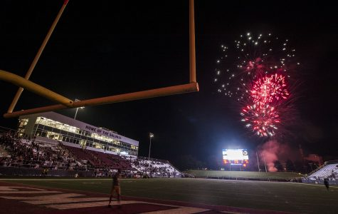 Fireworks explode over Saluki Stadium following the Salukis' 50-17 win over the Murray State Racers on Saturday, Sept. 17, 2016, at Saluki Stadium. (Ryan Michalesko | @photosbylesko)