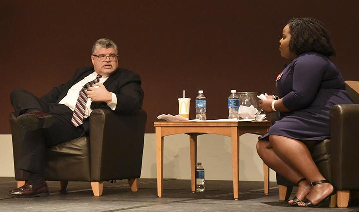 Interim Chancellor Brad Colwell is interviewed by Gabbea Williams, a non-declared graduate student, Wednesday, Sept. 21, 2016, in the Student Center Ballrooms during an event coordinated through SIU's Student Programming Council. (Bill Lukitsch | @Lukitsbill)