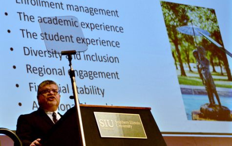 SIUC interim Chancellor Brad Colwell delivers his State of the University address Wednesday, Sept. 21, 2016, in the Student Center Ballrooms. (Autumn Suyko | @AutumnSuyko_DE)