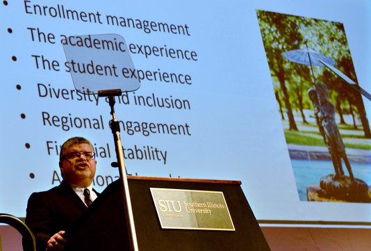 SIUC interim Chancellor Brad Colwell delivers his State of the University address Wednesday, Sept. 21, 2016, in the Student Center Ballrooms. (Autumn Suyko   @AutumnSuyko_DE)