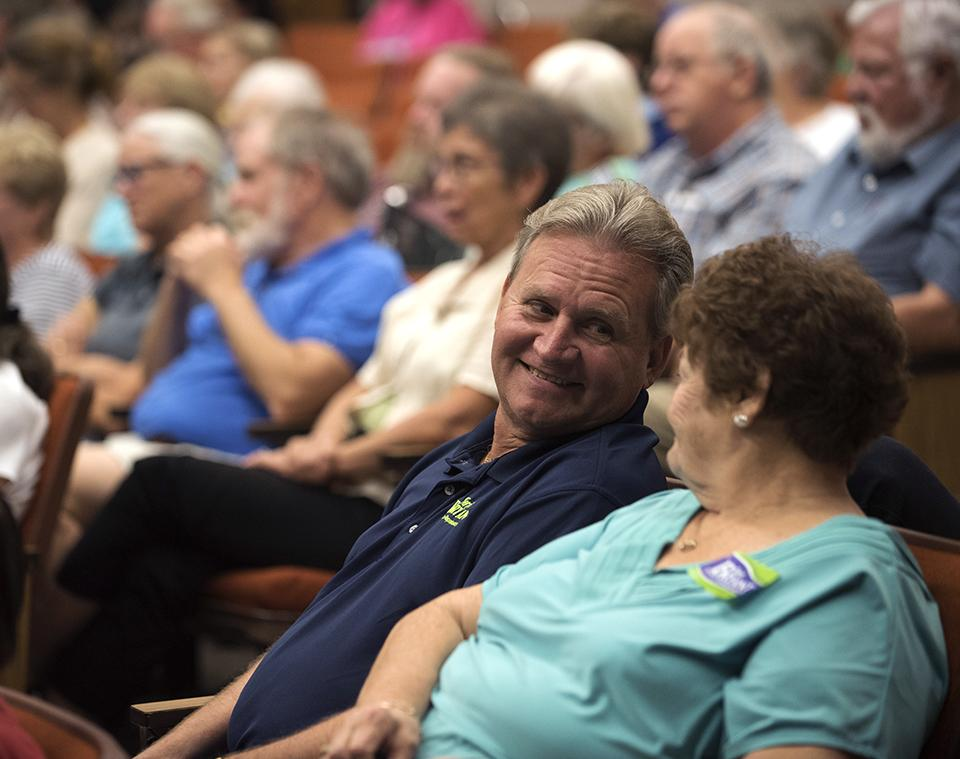 Rick Bryant, Murphysboro native and husband of Republican Rep. Terri Bryant, shares a moment with his mother, Beverly Bryant, of Ava, on Thursday, Sept. 22, 2016, during a candidate forum between Rep. Bryant and her democratic challenger, Marsha Griffin, in the Lesar Law Building Auditorium. Beverly said she enjoyed the debate, but thought Griffin read from her notes too much. (Morgan Timms | @Morgan_Timms)