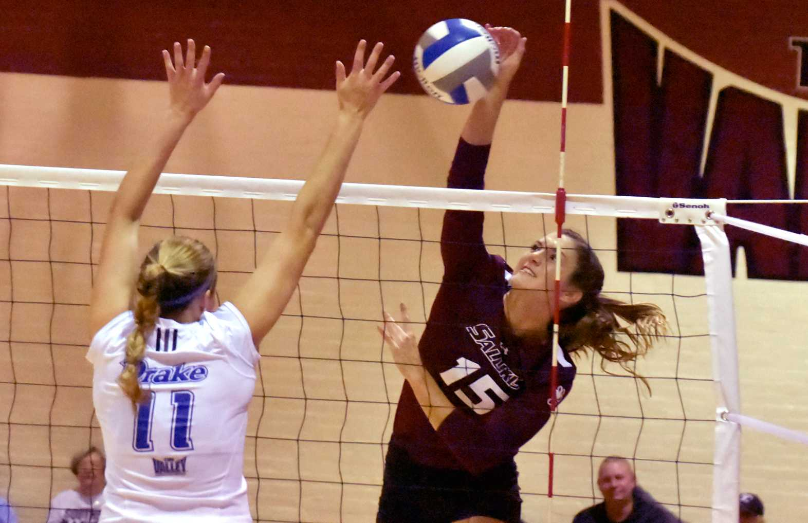Junior outside hitter Abby Barrow attempts a kill during the Salukis' 3-1 win over the Drake Bulldogs on Saturday, Sept. 24, 2016, in Davies Gym. (Sean Carley | @SCarleyDE)