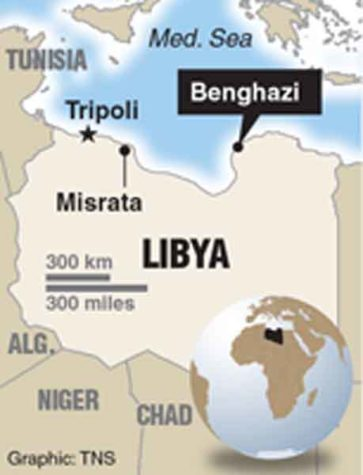 Map locating Benghazi. Tribune News Service 2016
