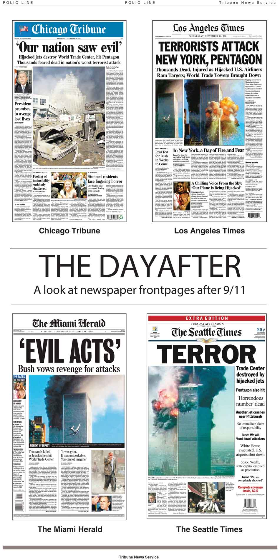 Full page graphic showing front pages of newspapers the day after September 11th, 2001.