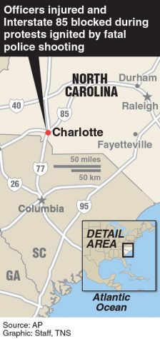 Locator map of Charlotte, N. Carolina where protest broke out over police shooting.